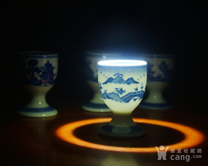 景德镇文革厂货瓷器 精品收藏 �{白泥蛋壳青花梧桐高脚酒杯4个图4