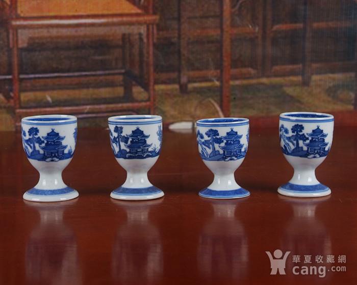 景德镇文革厂货瓷器 精品收藏 �{白泥蛋壳青花梧桐高脚酒杯4个图6