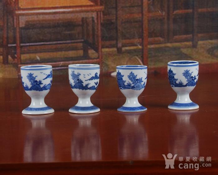 景德镇文革厂货瓷器 精品收藏 �{白泥蛋壳青花梧桐高脚酒杯4个图7
