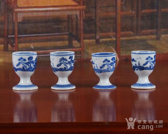 景德镇文革厂货瓷器 精品收藏 �{白泥蛋壳青花梧桐高脚酒杯4个图9