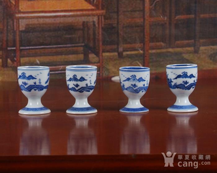 景德镇文革厂货瓷器 精品收藏 �{白泥蛋壳青花梧桐高脚酒杯4个图8