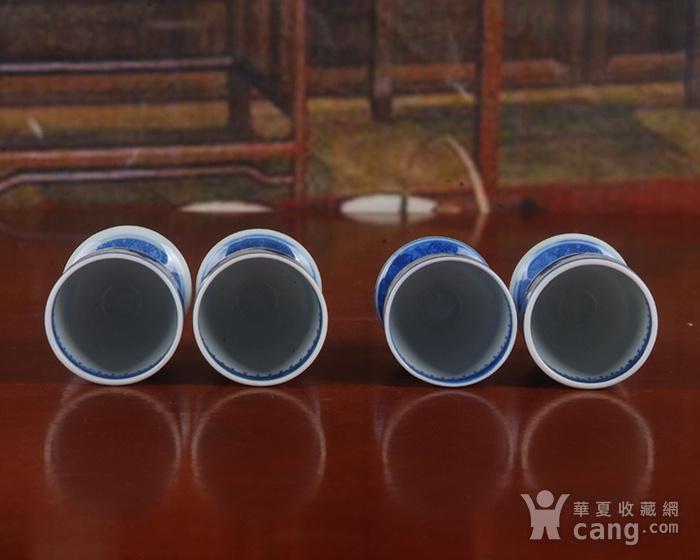 景德镇文革厂货瓷器 精品收藏 �{白泥蛋壳青花梧桐高脚酒杯4个图10