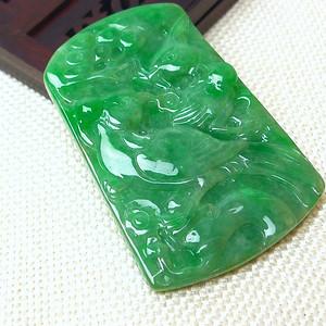联盟 缅甸老坑A货翡翠冰润满绿精雕鹤寿延年挂件