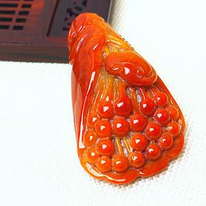 联盟 缅甸老坑A货翡翠冰润满红精雕花开富贵大挂件