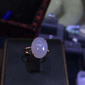 18k金豪华拌钻镶嵌紫罗兰翡翠戒指配送证书