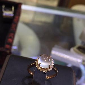 18k金豪华拌钻镶嵌玻璃种翡翠戒指配送证书
