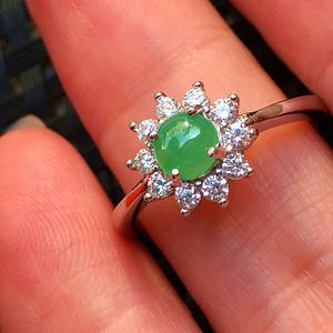 925银镶嵌阳绿翡翠戒指配送证书