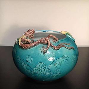 清代孔雀蓝釉螭龙超级大水洗