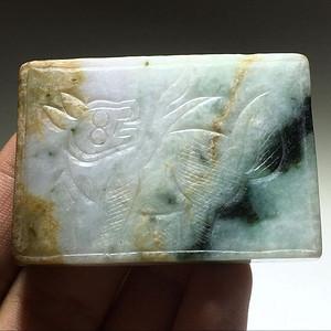 翡翠 几乎满绿 福禄寿 三色 麒麟佩 手工雕刻 工艺不错