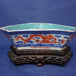 同治矾红描金松石绿釉 大清同治年制款 双龙戏珠蝠形供碗1906 T13