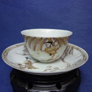 雍正金彩矾红 西厢记 著名场景薄胎杯碟一套 1913 T20