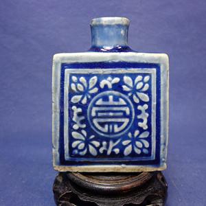 清中蓝釉模印花卉寿字纹鼻烟壶 1922 T29