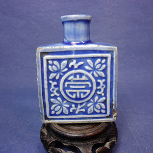 清中蓝釉模印花卉寿字纹鼻烟壶 1923 T30