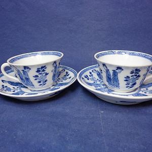光民时期欧州仿康熙印刷版仕女花卉纹杯碟二套 1926 T33