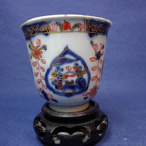 康熙青花矾红描金皮球花山水纹钟形杯 1928 T35
