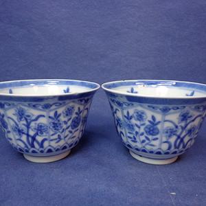 清晚仿康熙青花灵芝款花卉纹杯二只 1929 T36