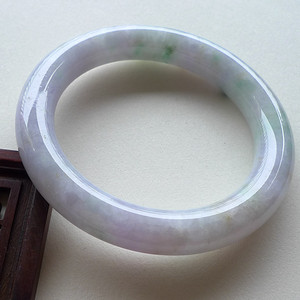 A货翡翠冰糯种淡紫圆条手镯61.81g