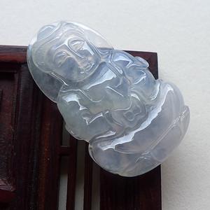 A货翡翠冰种起光观音6.33g