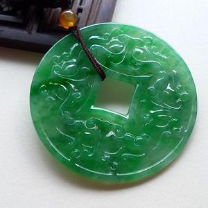 A货翡翠冰种满阳绿铜钱14.72g