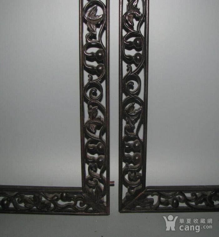 红酸枝雕刻画框一套图3
