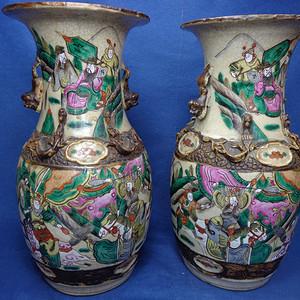 清晚哥釉粉彩三国演义长坂坡赵子龙救孤瓶一对 1792 P37