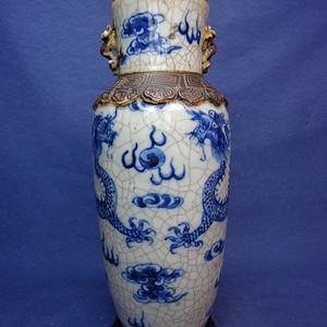 五爪龙清晚双龙戏珠铁锈哥釉梅花耳瓶 1793 Q1