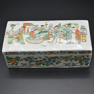 清咸丰粉彩人物墨条盒