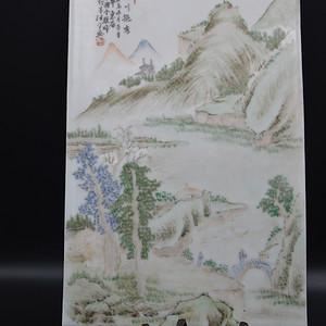 民国浅绛彩山水瓷板画