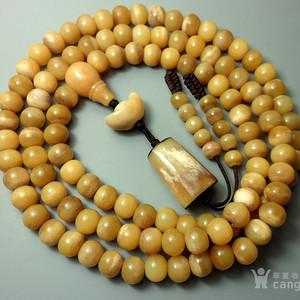 极品HU骨鸡油黄!天然珍稀润骨孟加拉大MAO骨108佛珠挂件!大勒子