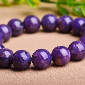 浓艳满色紫龙晶!纯天然原矿无优化查罗石精品圆珠满紫水晶手串!