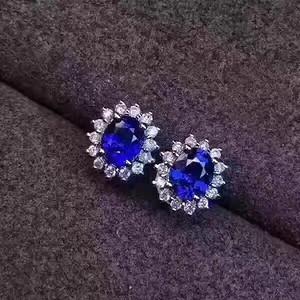 天然蓝宝石耳钉