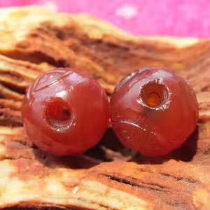 满红 团寿纹 玛瑙 对珠 包浆老道 皮壳熟润