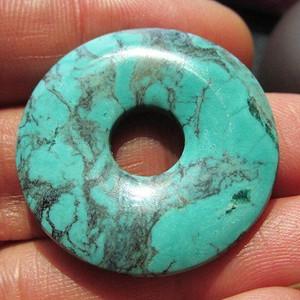 有些年头 原矿 绿松石 平安扣 瓷度刚刚滴
