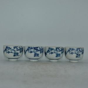 日本青花瓷茶碗四个