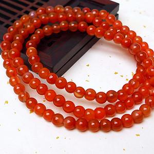 缅甸老坑玛瑙一品红圆珠项链