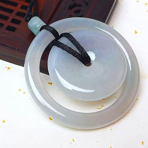 缅甸老坑A货翡翠冰种浅绿平安扣吊坠