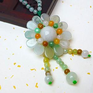 缅甸老坑A货翡翠冰种三彩花开富贵项链