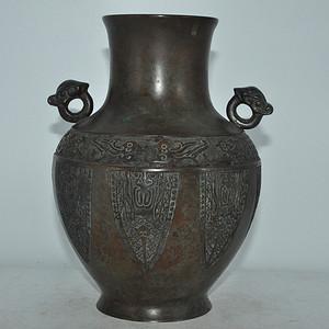 铸花双耳铜瓶