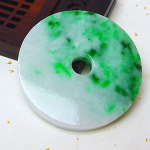 缅甸老坑A货翡翠冰润带阳绿平安扣吊坠