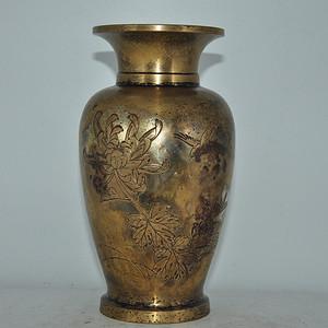 民国纯手工雕刻花鸟铜瓶
