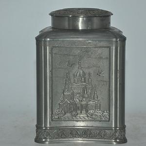 国外锡制铸花茶叶罐