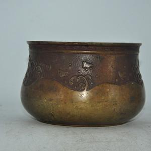 日本茶道纯铜铸花建水
