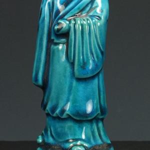 清代中期  孔雀蓝秞瓷塑  摆件