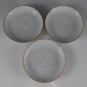 国外回流  定窑 雕花白瓷 大盘 三个