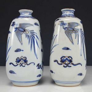 日本九谷瓷器  青花描金观音瓶 一对