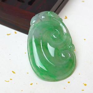 缅甸老坑A货翡翠冰种带阳绿吉祥如意吊坠