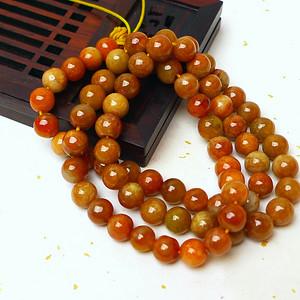 缅甸老坑A货翡翠冰润褐红圆珠项链