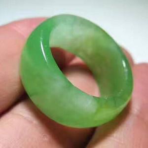 挂黄翡 冰种 满绿 翡翠指环 完美品 翠色可人