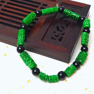 缅甸老坑A货翡翠冰润祖母绿平安柱手链