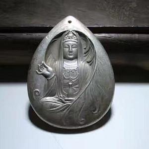 银 铸 慈航普度 观音大士 吊坠 铸造精美 造型端庄